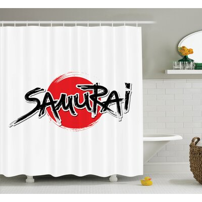 Japanese Samurai Lettering Sun Shower Curtain Size: 69 W x 70 L