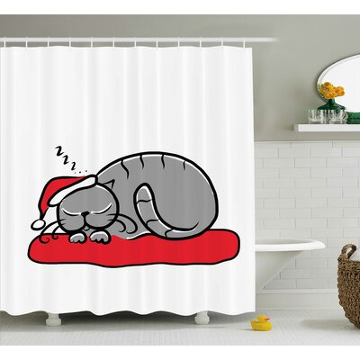 Christmas Cat with Santa Hat Shower Curtain Size: 69 W x 75 L