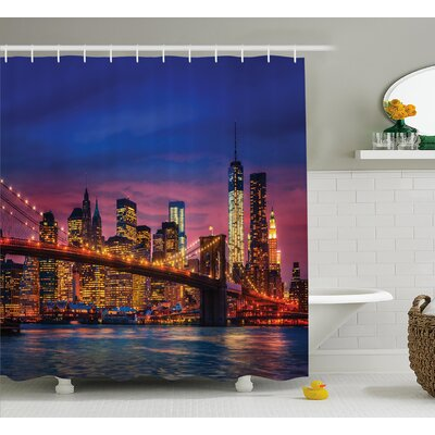 Brunella NYC with Neon Lights Shower Curtain Size: 69 W x 84 L