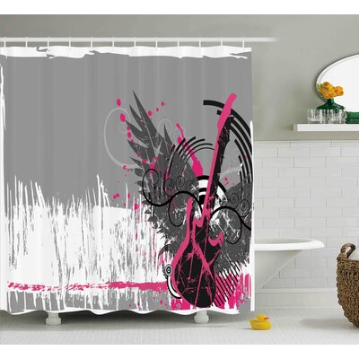Kadin Emo Rock Trippy Grunge Shower Curtain Size: 69 W x 84 L