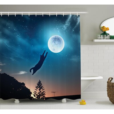 Everly Cat Catching Moon Stars Shower Curtain Size: 69 W x 84 L