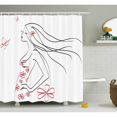 Judith Girl Flowers Butterfly Shower Curtain Size: 69 W x 84 L