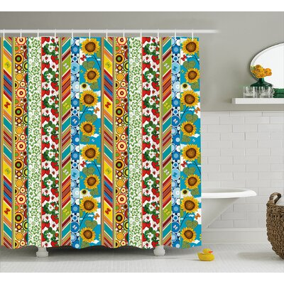 Beechwood Patchwork Style Spring Shower Curtain Size: 69 W x 84 L