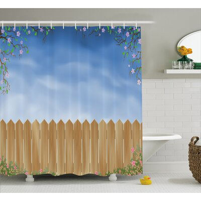 Wooden Swiled Spring Season Shower Curtain Size: 69 W x 75 L