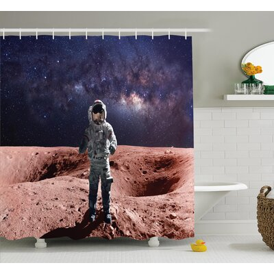 Astronaut Nebula Mars Shower Curtain Size: 69