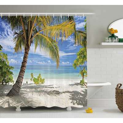 Aplin Palm Trees Coastline Shower Curtain Size: 69 W x 84 L