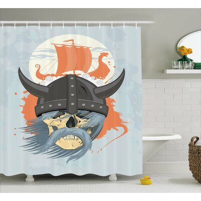 Viking Ghost Warrior Cartoon Shower Curtain Size: 69 W x 75 L