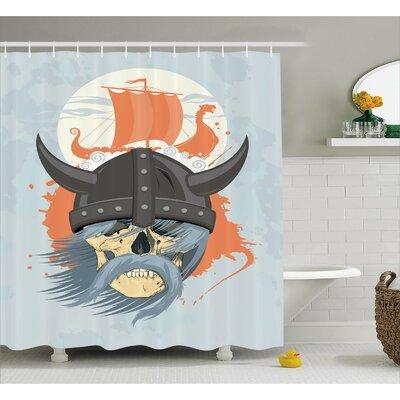 Viking Ghost Warrior Cartoon Shower Curtain Size: 69 W x 70 L