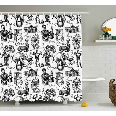 Jace Circus Magician Theme Shower Curtain Size: 69 W x 84 L