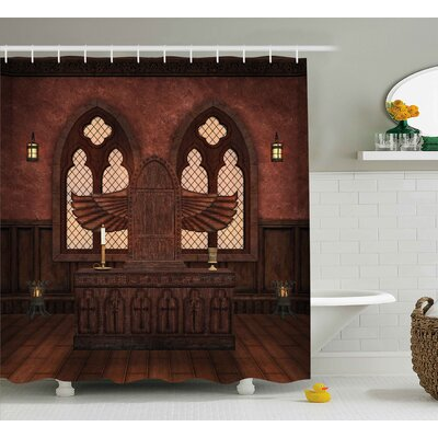 Gothic Temple Rituals Tradition Shower Curtain Size: 69 W x 75 L