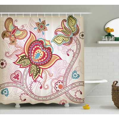 Darcelle Asian Style Butterflies Shower Curtain Size: 69 W x 70 L
