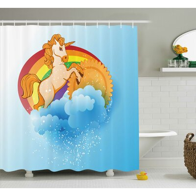 Sheldon Cartoon Kids Rainbow Shower Curtain Size: 69 W x 84 L