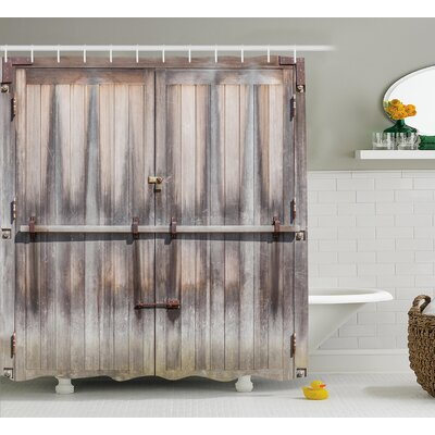 Retro Wooden Oak Country Gate Shower Curtain Size: 69 W x 75 L