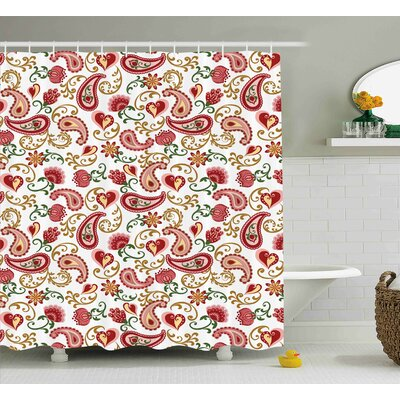 Quarryville Indian Style Rose Motif Shower Curtain Size: 69 W x 75 L