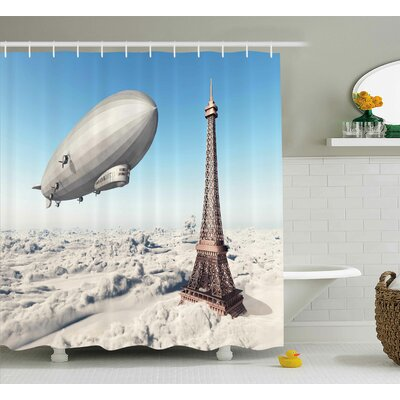 Paris French Decor Paris Tower Shower Curtain Size: 69 W x 75 L