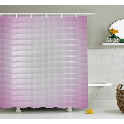 Baumbach Lilac Horizontal Lines Shower Curtain Size: 69