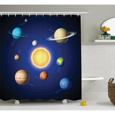 Marley Solar System with Planets Shower Curtain Size: 69 W x 84 L