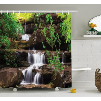 Nature Rock Stair in Waterfall Shower Curtain Size: 69 W x 75 L