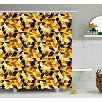 Saul Abstract Cubes and Blocks Shower Curtain Size: 69 W x 84 L