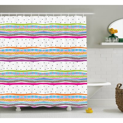 Santos Bows Hearts Dots Girly Shower Curtain Size: 69 W x 84 L