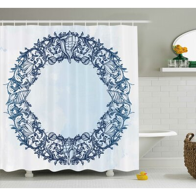 Roxy Floral Circle Zen Shower Curtain Size: 69 W x 84 L