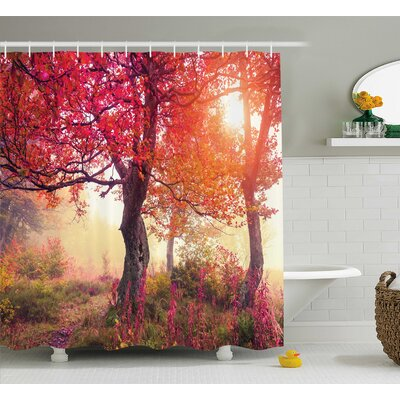 Bleeker Decor Flowers Park Nature Shower Curtain Size: 69 W x 75 L
