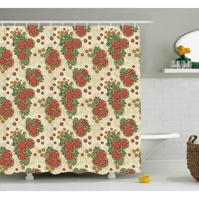 Burnes Flowers Decor Design Shower Curtain Size: 69 W x 75 L
