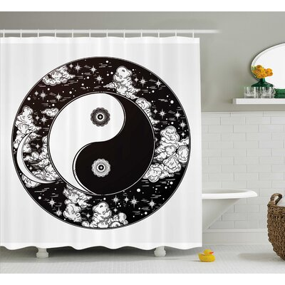 Ying Yang Decor Romantic Sky Shower Curtain Size: 69 W x 75 L