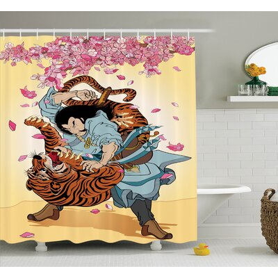 Japanese Battle Samurai Tiger Shower Curtain Size: 69 W x 75 L