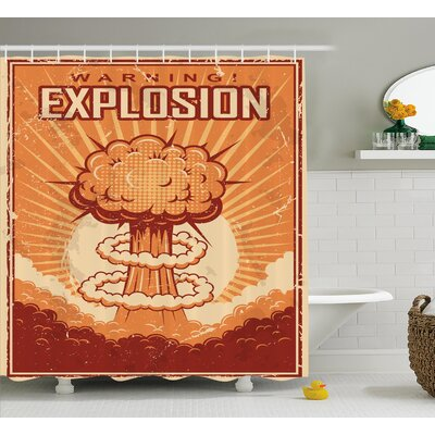 Retro Poster Vintage Pop Grunge Shower Curtain Size: 69 W x 84 L