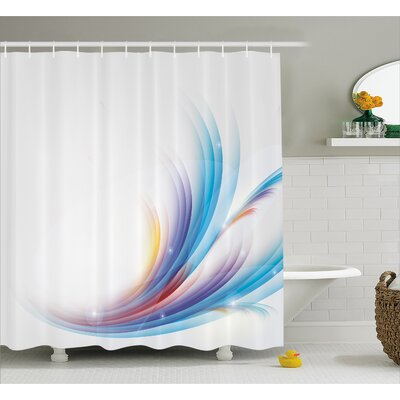 Grady Rainbow like Wave Decor Shower Curtain Size: 69 W x 84 L