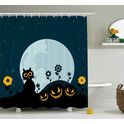 Cat Kitty Under Moon Halloween Shower Curtain Size: 69 W x 84 L