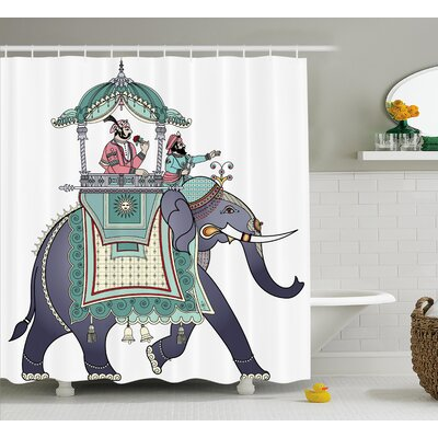 Indian Elephant with Prince Shower Curtain Size: 69