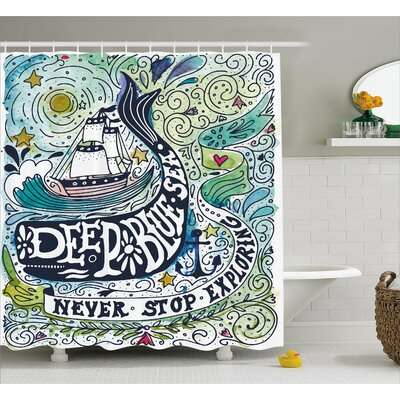 Animal Whales Island with Palm Shower Curtain Size: 69 W x 84 L