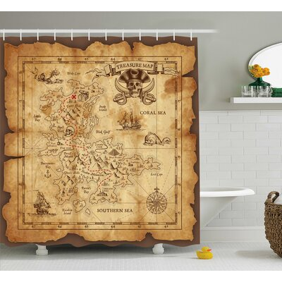Susanna Old Paper Treasure Map Shower Curtain Size: 69 W x 84 L