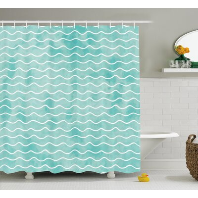 Rossie Ocean Sea Wave Pattern Shower Curtain Size: 69 W x 75 L