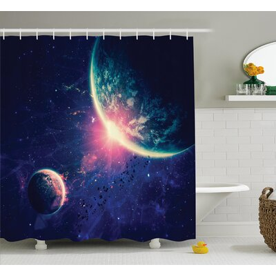 Outer Space Mars Planets Shower Curtain Size: 69 W x 75 L