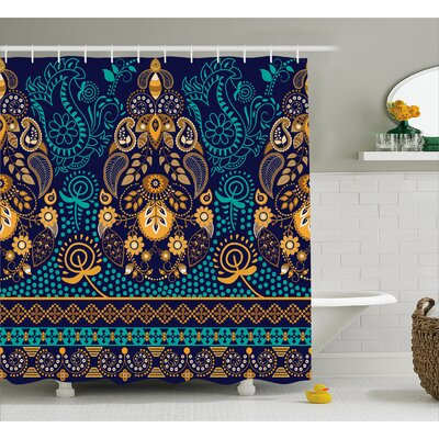 Beeney Ethnic Flowers and Dot Shower Curtain Size: 69 W x 75 L