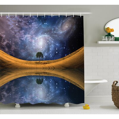 Space Galaxy with Star Meteors Shower Curtain Size: 69 W x 84 L