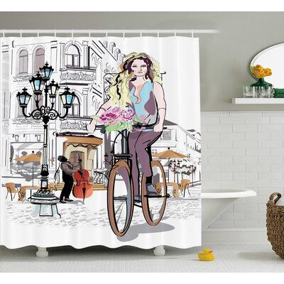 Anika Lady Rides Bicycle Roses Shower Curtain Size: 69 W x 84 L