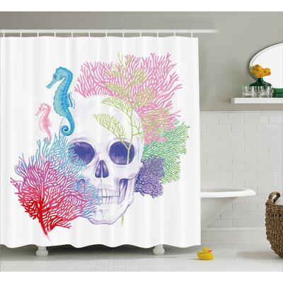 Halloween Wild Skull Skeletons Shower Curtain Size: 69 W x 84 L