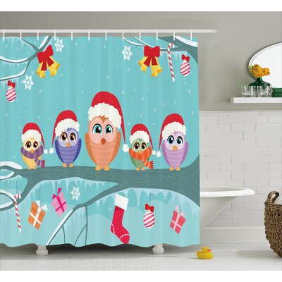 Sydnee Cute Owl Family Tree Shower Curtain Size: 69