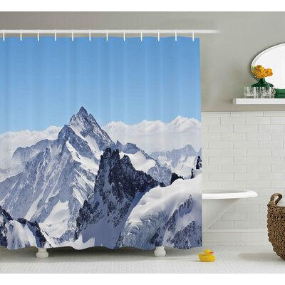 Winter Snowy Mountain Peaks Shower Curtain Size: 69 W x 75 L