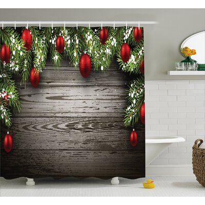 Christmas Red Balls Fir Branch Shower Curtain Size: 69 W x 84 L