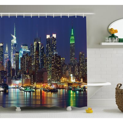 Brunelle NYC Midtown Skyline Shower Curtain Size: 69 W x 84 L