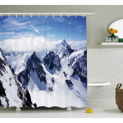Winter Mountain Peak Scenery Shower Curtain Size: 69 W x 75 L