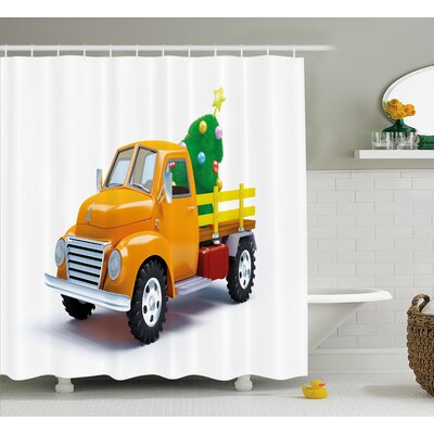 Christmas Vintage Truck Shower Curtain Size: 69 H x 70 W