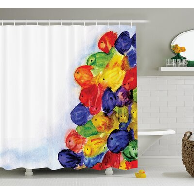Sea Animals Decor Shower Curtain Size: 69 H x 70 W