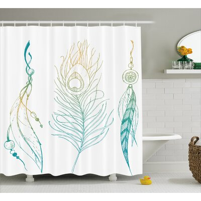 Feather and Peacock Tail Decor Shower Curtain Size: 69