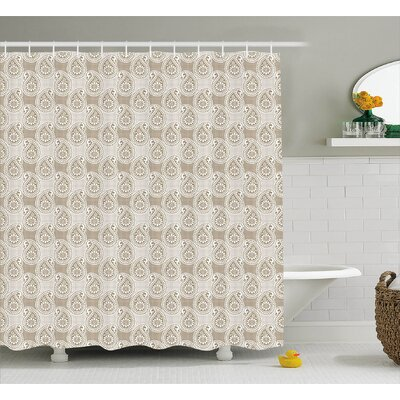 Floral Teardrop Decor Shower Curtain Size: 69 H x 70 W